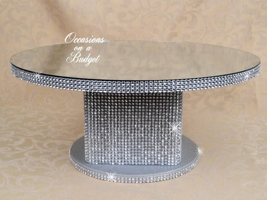 """Mariage - Round 18"""" Bling cake stand - Rhinestone cake stand wedding  round cake stand With mirror- round cupcake stand"""