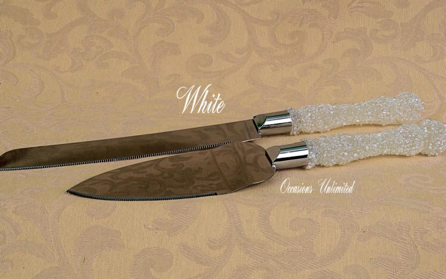 Mariage - Wedding Cake knife set with beaded handles
