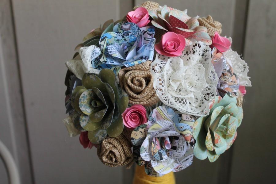 Mariage - Chic burlap, lace, vintage comic book, and floral paper bridal bouquet