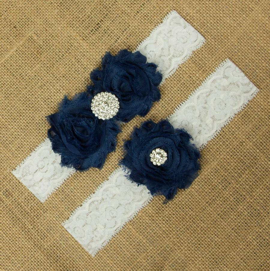 Свадьба - Navy Blue Garter, Navy Garter Set, Navy Blue Wedding Garter, Wedding Garter Set, Navy Blue, Bridal Garter Belt, Navy Garter Set, SCWS-B07