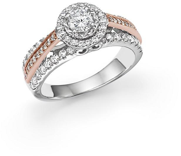 Свадьба - Diamond Solitaire Ring with Halo in 14K White and Rose Gold, 1.0 ct. t.w.