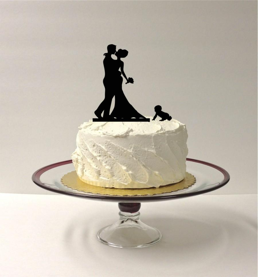 Mariage - BABY + BRIDE + GROOM Silhouette Wedding Cake Topper Family of 3 Bride Groom + Child Wedding Cake Topper Silhouette