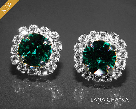 Emerald Crystal Halo Earrings Swarovski 8mm Green Rhinestone Hypoallergenic Studs Silver Bridesmaids Jewelry