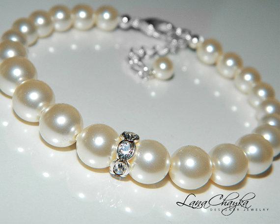 Wedding - Wedding Ivory Pearl Bracelet Swarovski Pearl One Strand Bracelet Bridal Pearl Bracelet Wedding Jewelry Bridal Pearl Bracelet Bridal Jewelry