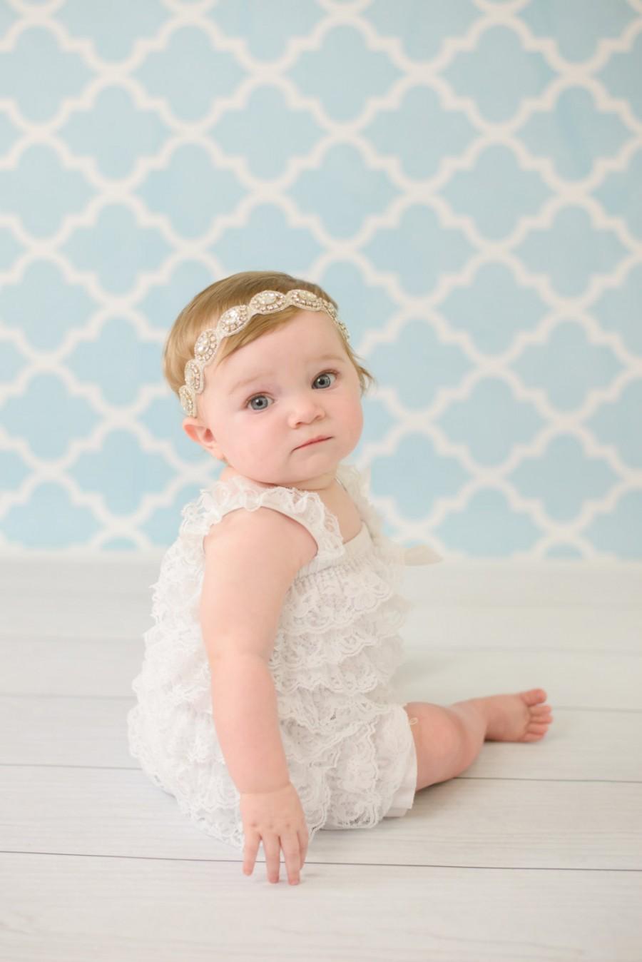 Wedding - Flower Girl Headband, Baby Rhinestone Headband, Newborn Headband, Crystal Headband, Bling Headband, Wedding Headband