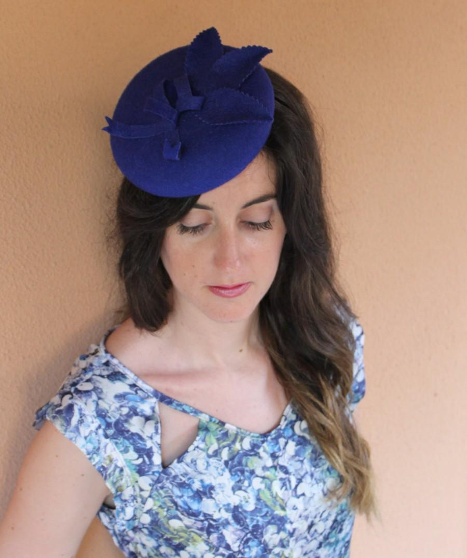 Свадьба - Blue Beret Felt, Blue Felt hat, Ascot Hat, Race hat, wedding felt hat, winter wedding hat, wool hat, blue hat, beret hat, hat block