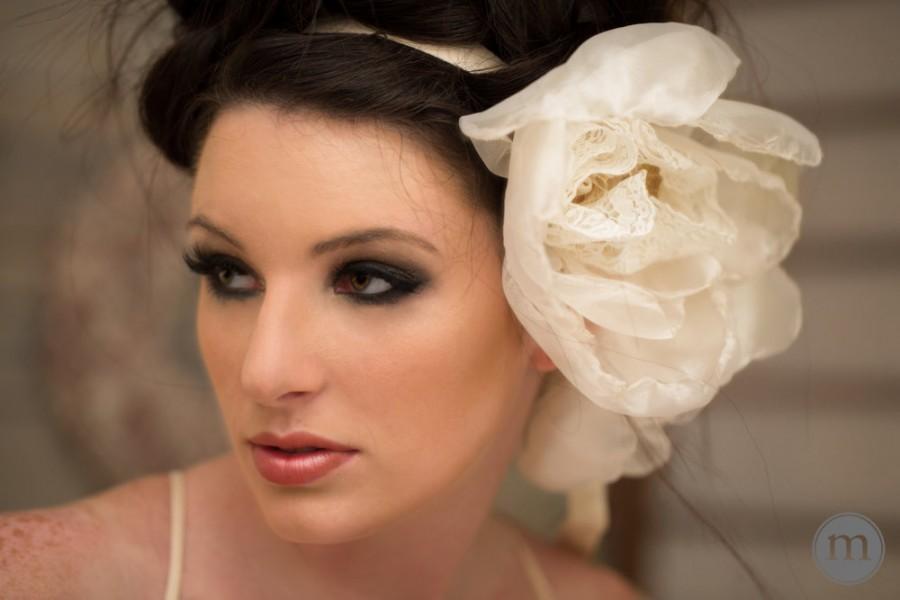 Wedding - Weddings Hair Accessories Flower Crown Head Piece Ivory Gold Sash Bridal Hair Bride Hair Accessories XL Flower Headband