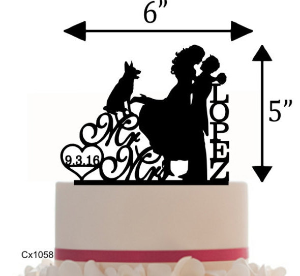 Hochzeit - Custom Wedding Cake Topper , Couple Silhouette and any Dog of your choise with free base for display - Wedding Sign Table Display