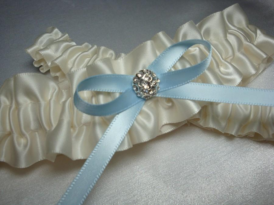 Свадьба - Ivory Garter Set with Blue Bow