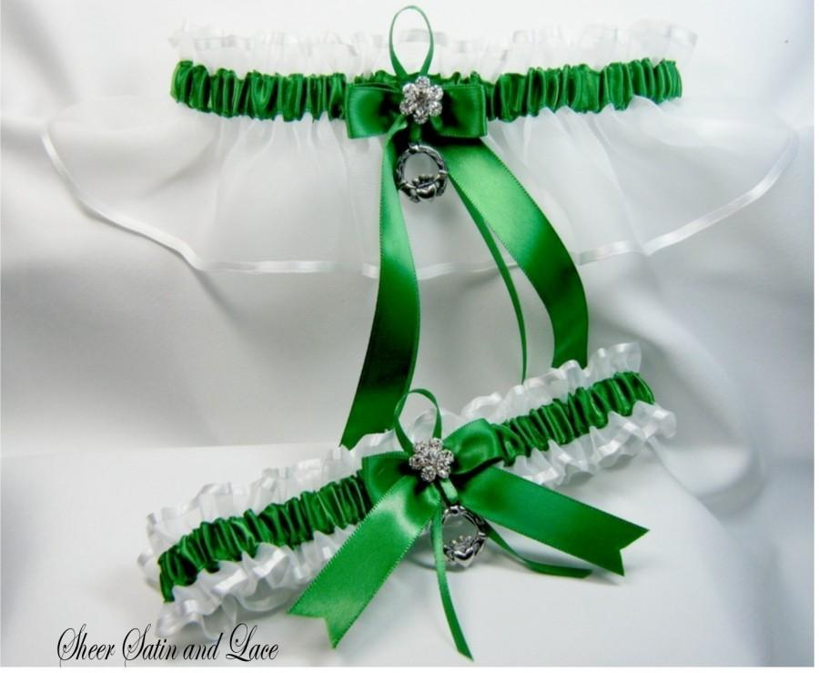 Свадьба - EMERALD IRISH Wedding garters claddaugh Garter set