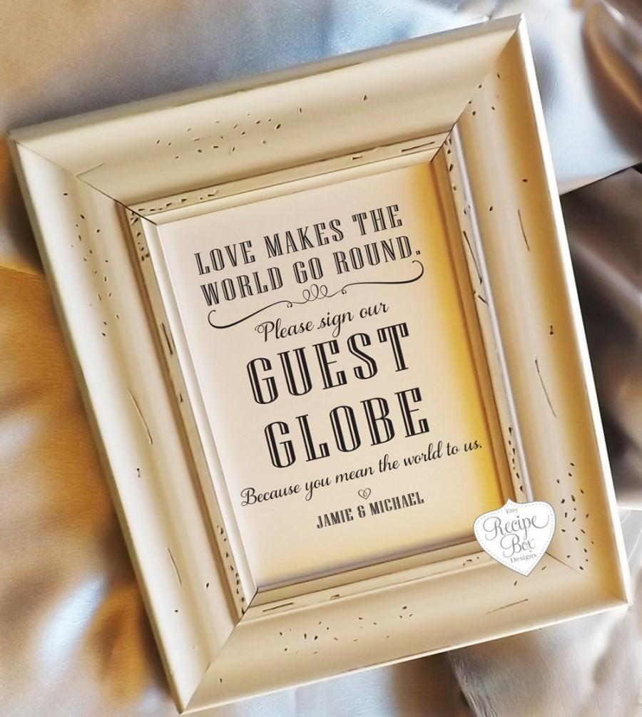 Wedding Table Wedding Sign In Book guest book globe sign alternative wedding table 5x7 size no frame