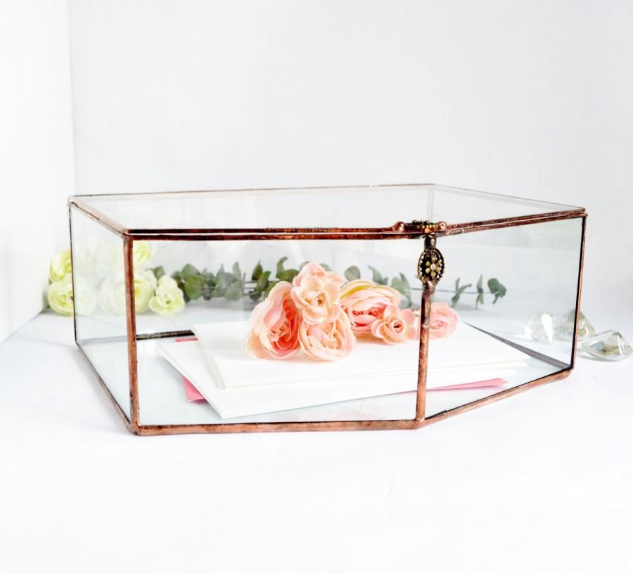 Wedding Card Box Envelope Holder Glass Box Wedding Gift Glass