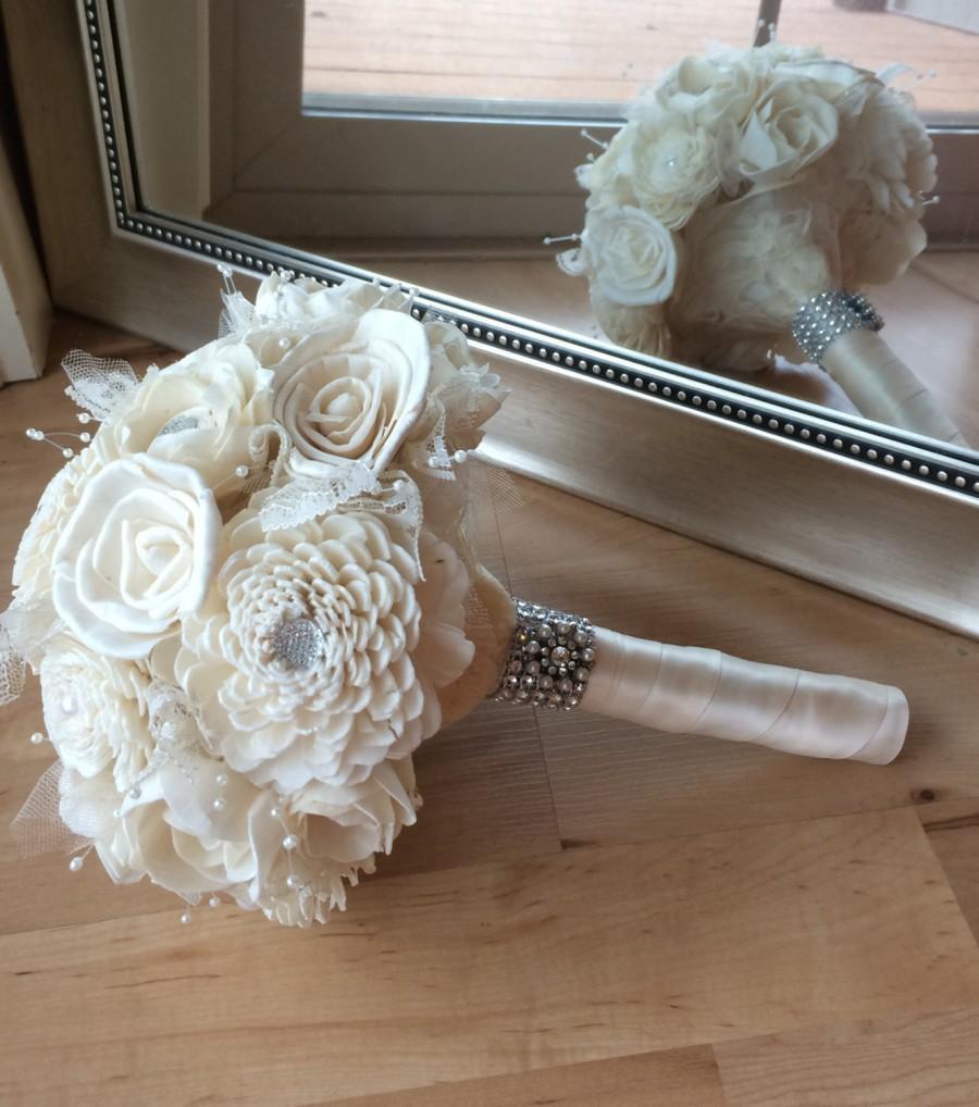 White Bouquet Simple Wedding Bouquet Sola Bouquet Alternative