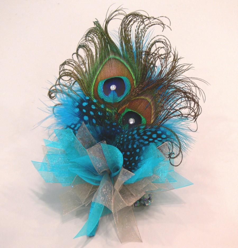 Hochzeit - Peacock Feather Corsage for Prom or Wedding in choice of colors to match dress