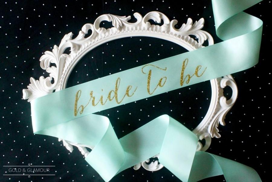 Hochzeit - Mint & Gold Glitter Bachelorette Sash - Custom Lettered Sash