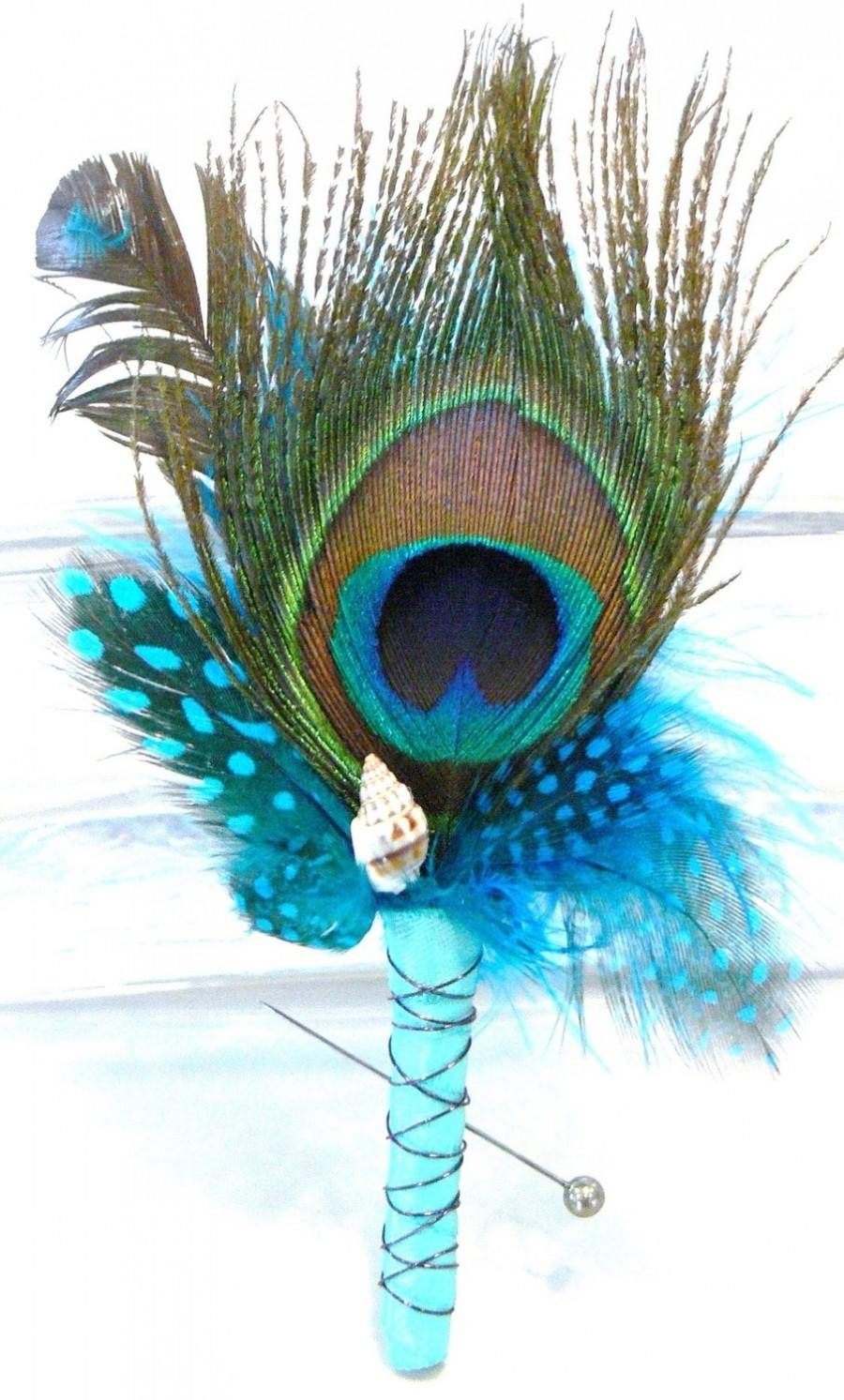 Hochzeit - Peacock Boutonniere - Lapel Pin - Wedding - Prom - Father's Day - Special Occasion - Unique - Choice of Colors