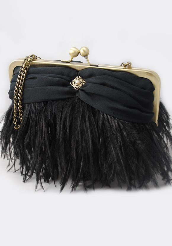 Hochzeit - Black Ostrich Feather Evening Clutch
