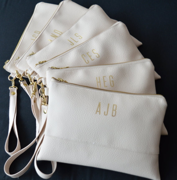 Personalized Wristlet Clutch Iphone Wallet Light Cream Monogrammed Bridesmaid Gift Wedding Accessory