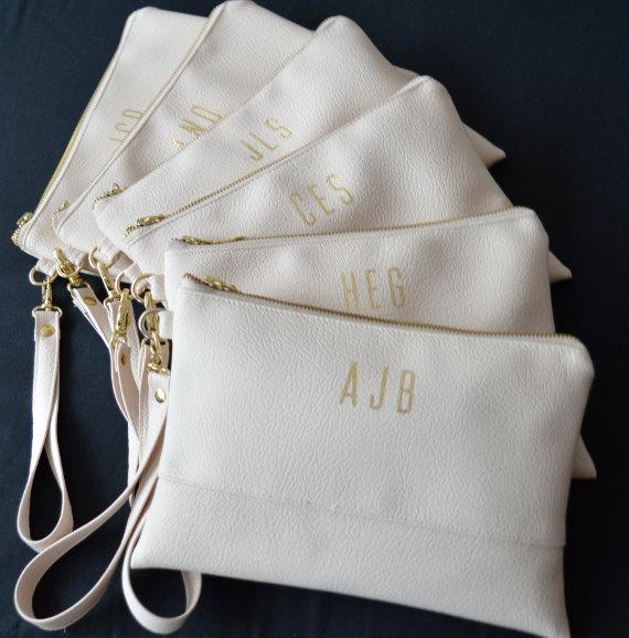 Hochzeit - Personalized Wristlet Clutch, Iphone wallet, Light Cream Monogrammed Wristlet Clutch, Bridesmaid Gift, Wedding Accessory