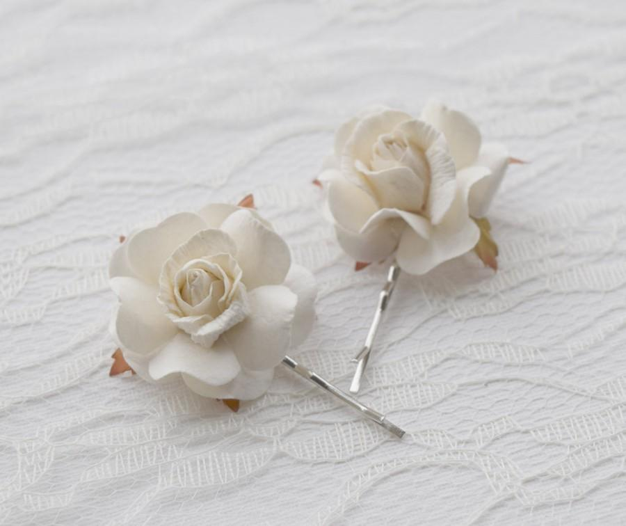 White Rose Hair Clips Wedding Accessories Bridal Pins Flower Bobby Set Of Two