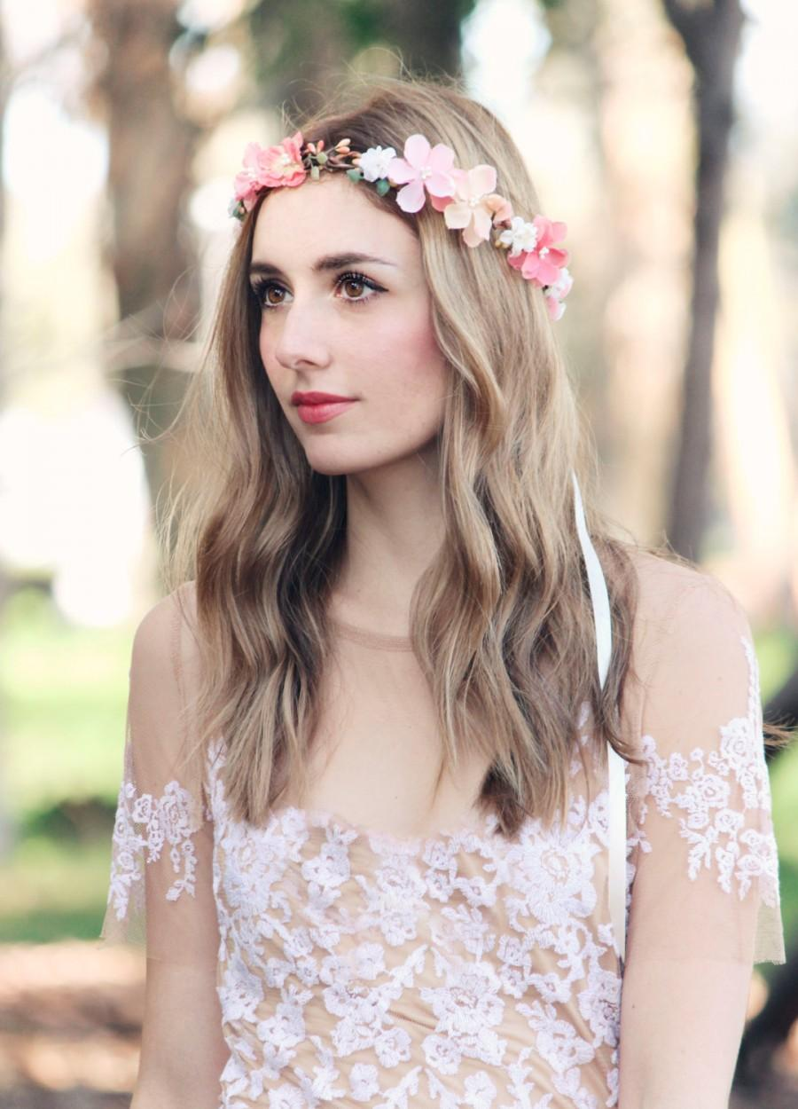 Hochzeit - peach pink flower crown bridal headpiece bohemian wedding floral head wreath rustic hair accessory