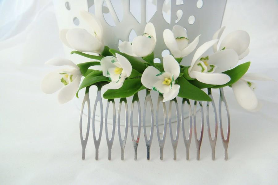 Hochzeit - Bridal flower comb -  snowdrops flower. Flower hair comb. Spring hair flower. Bridal hair comb. Wedding flower comb. Bridal hair flower