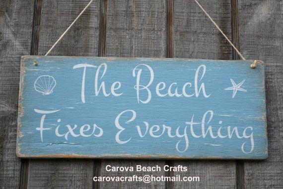 New Beach Decor Sign Fi Everything Coastal Theme House Rustic Nautical Wood Painted