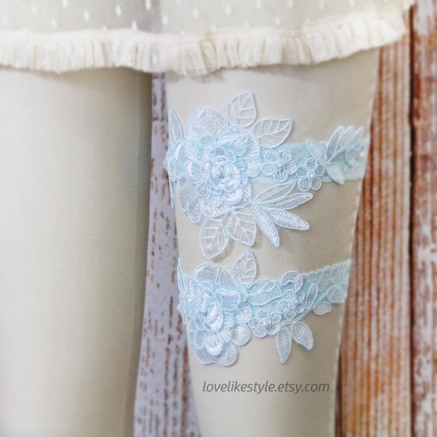 Свадьба - Something Blue, Light Blue  Pearl Beaded Lace Wedding Garter Set, Blue  Lace Garter Set, Toss Garter , Keepsake Garter/ GT-15B