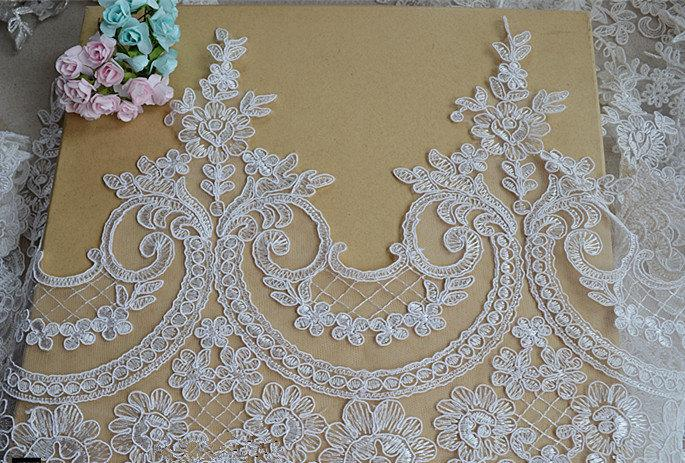 Свадьба - Ivory Lace Trim, Floral Lace Fabric, Vintage Flower Lace Trim, 9.5 inches Wide for Dress, Veilling,Costume,Craft Making 1 Yard