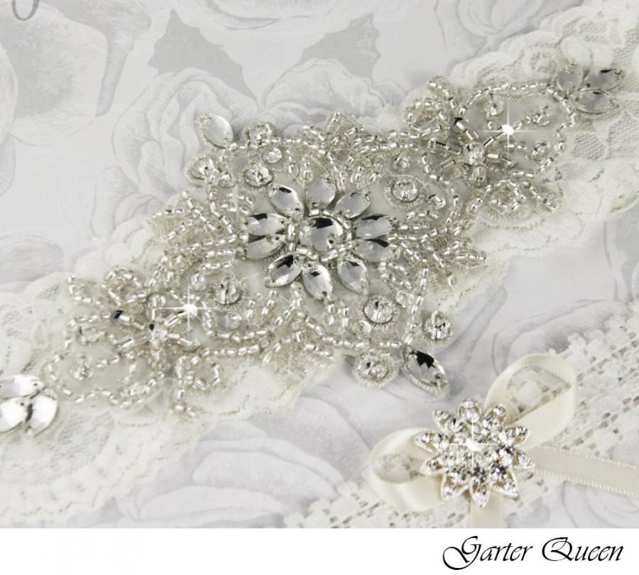 Свадьба - Off White Wedding Garter Set, Ivory Lace Garter, Lace Bridal Garter Set, Personalized Garter, Off White Garter Set