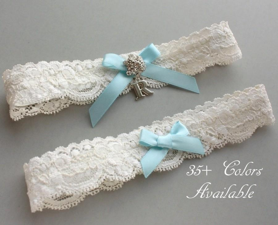 Свадьба - Something Blue Wedding Garter SET, Personalized Bridal Garter Set, Lace Garter Set, Custom Garter with Toss Garter, Silver Initial Garter