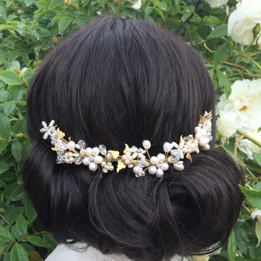 Hochzeit - Gold vintage bridal hair vine - gold and pearl hair vine - Ivy hair vine - Wedding hair accessory