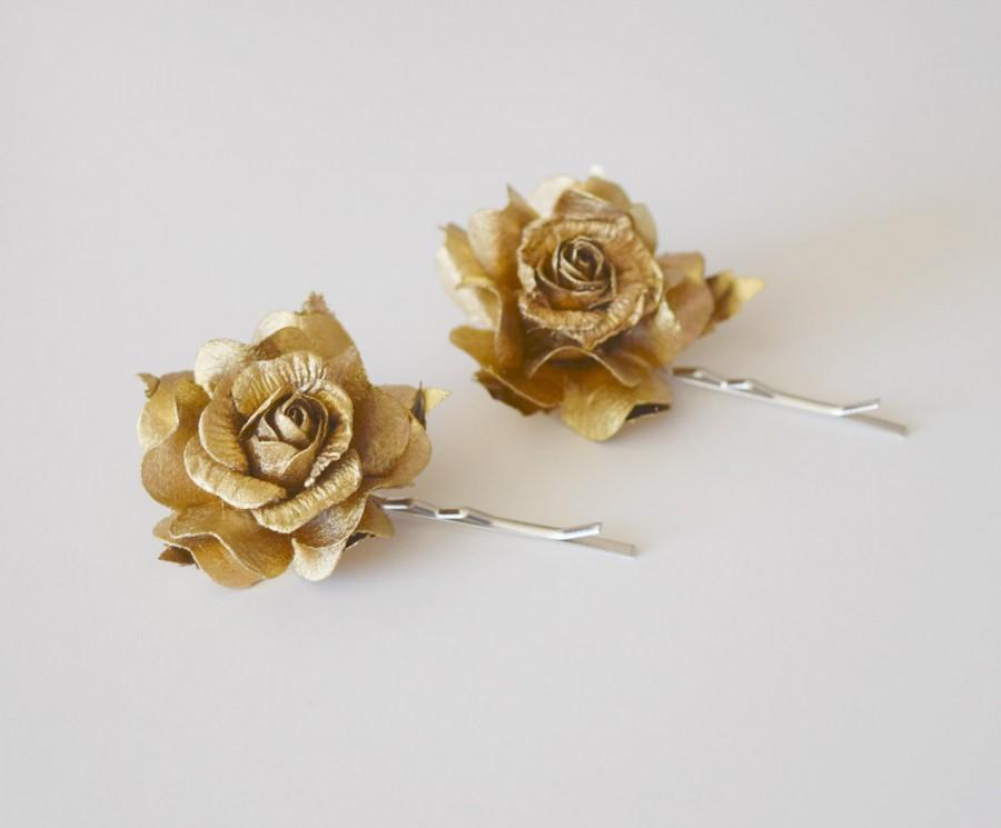 Hochzeit - Gold Rose Hair Clips, wedding hair accessories, bridal hair clips, gold rose pins, flower hair clips, rose bobby pins - set of two