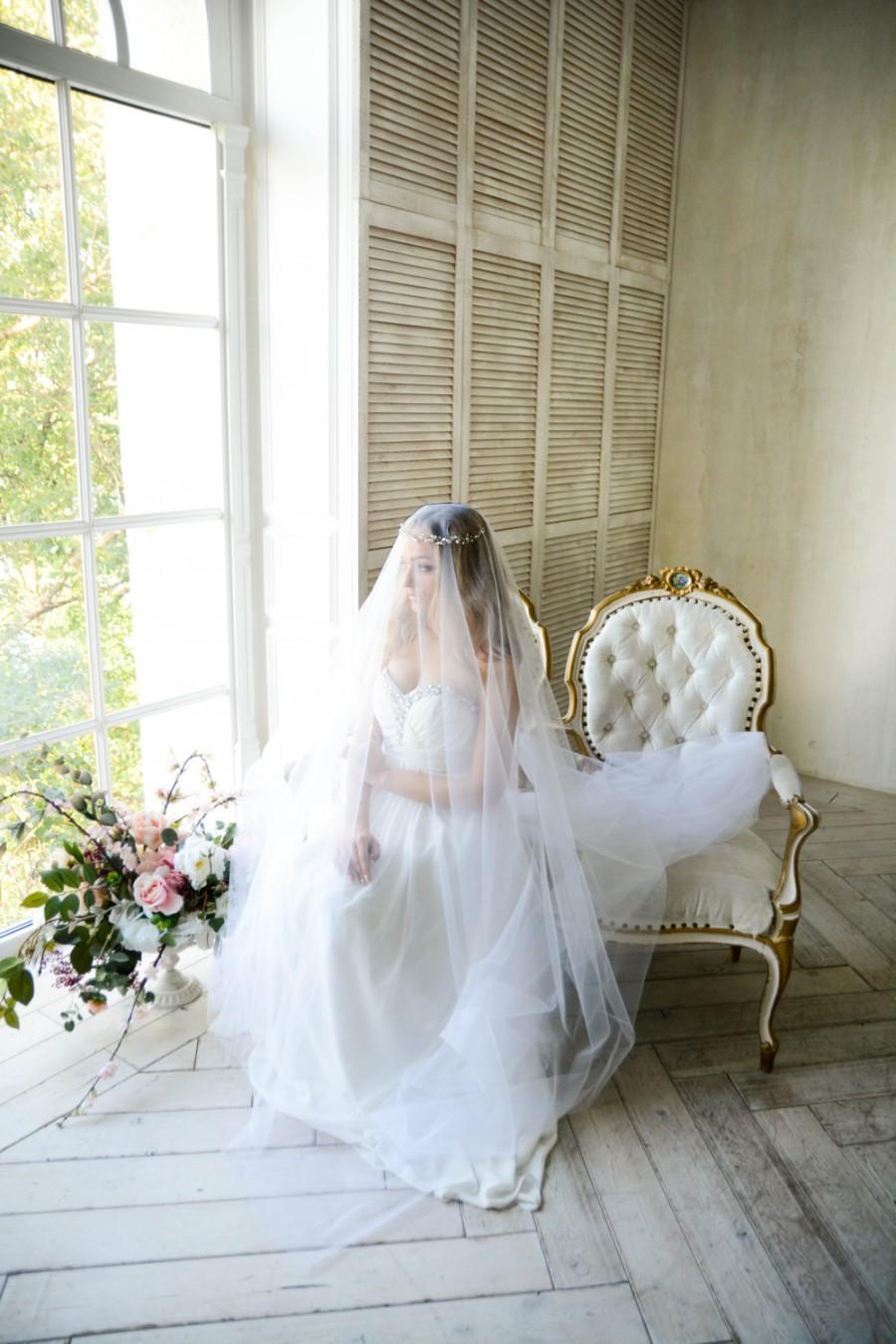 Hochzeit - Chapel Lenght Bridal Veil - Wedding Veil - Chapel Lenght Tulle Veil - White Bridal Veil - White Tulle Veil - Chapel Length Wedding Veil
