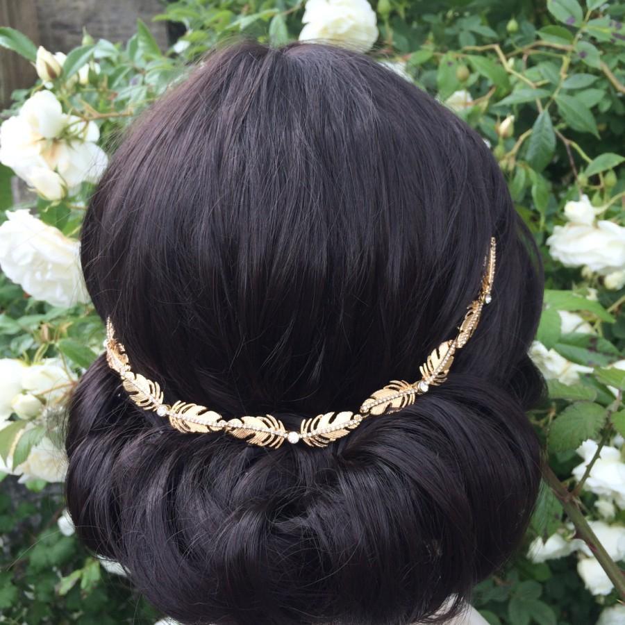 Hochzeit - Gold and diamante bridal hair vine - Art deco style - Bridal hair combs - Bohemian bridal headpiece - Wedding hair accessory