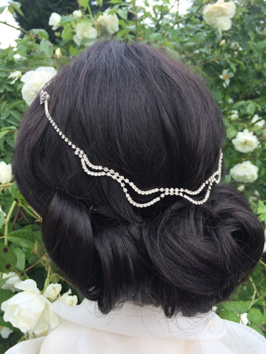 Hochzeit - Vintage Bridal hair chain headpiece - Art deco headpiece  - wedding hair accessory - Downton Abbey 1920s headpiece