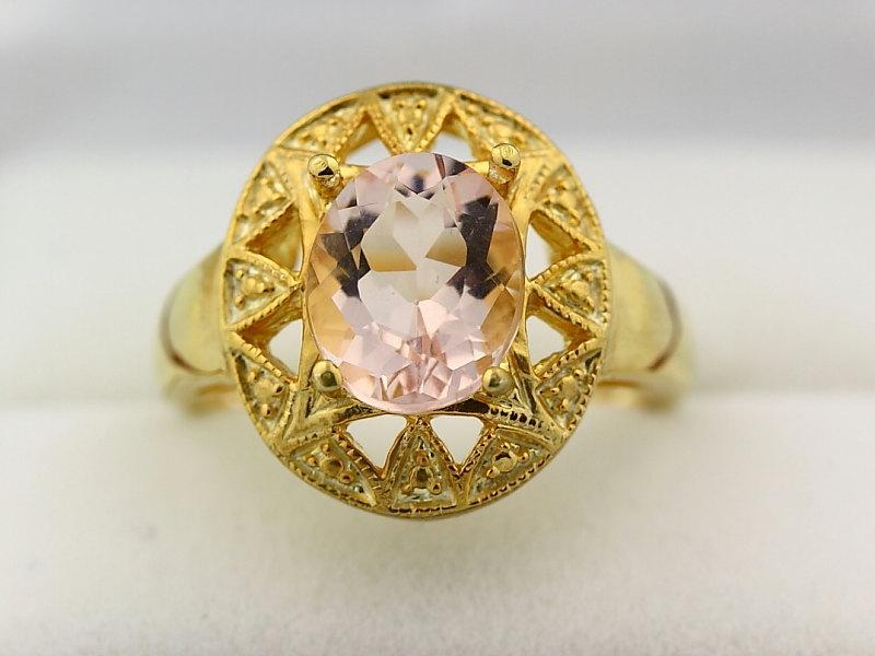 Mariage - Natural 10x8mm Facet Cut Morganite (Pink Emerald)  Solid 14K Yellow Gold Ring