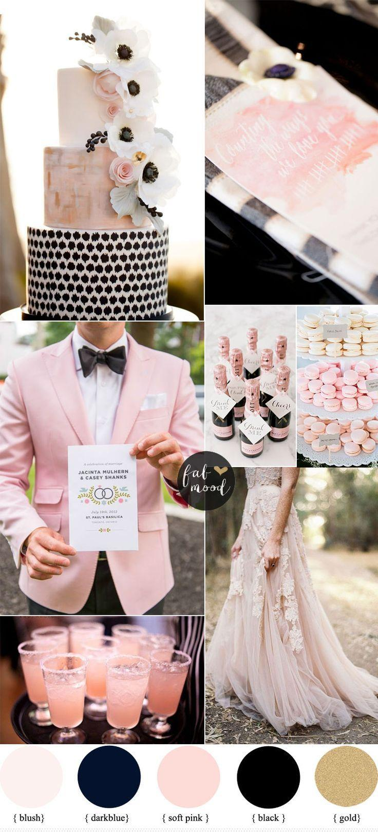 Black And Blush Pink Wedding Romantic Color Scheme