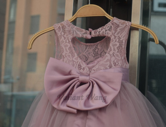 Wedding - Rose Pink Lace Tulle Flower Girl Dress Wedding Baby Girls Dress Big Sash/Bow Rustic Baby Birthday Dress Knee Length