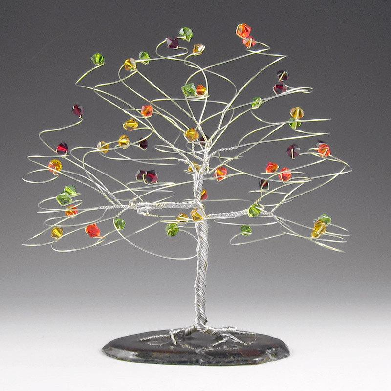 "Свадьба - Fall Wedding Tree Cake Topper 6"" x 6"" with Genuine Swarovski Crystal Elements"