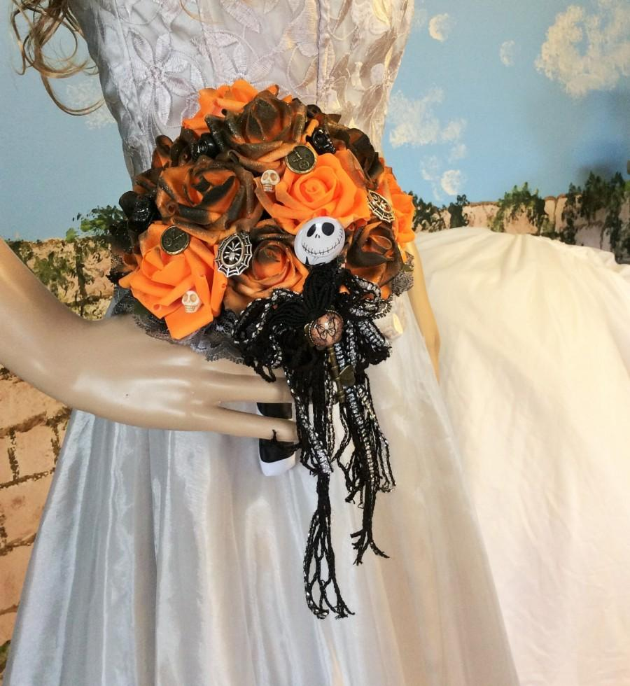 jack skellington wedding bouquet nightmare before christmas unique bridal bouquet brides bouquet tim burton halloween orangeblack wedding