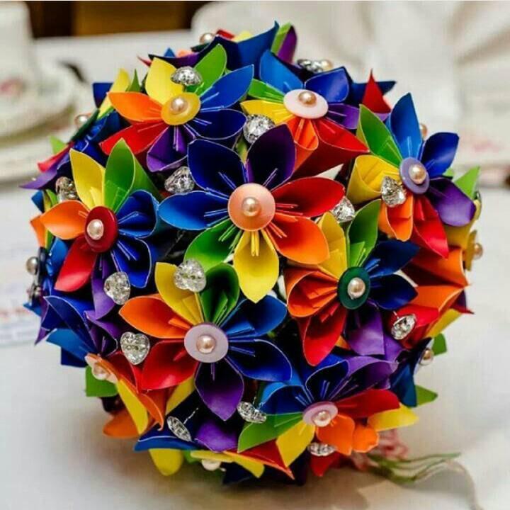 Paper Flower Origami Bouquet Corsage Buttonhole Alternative Wedding