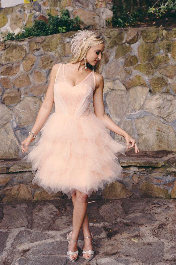 Wedding - Carrie - Short Wedding Dress, Repception Dress, Garden Wedding, Peach, Pink Wedding Dress