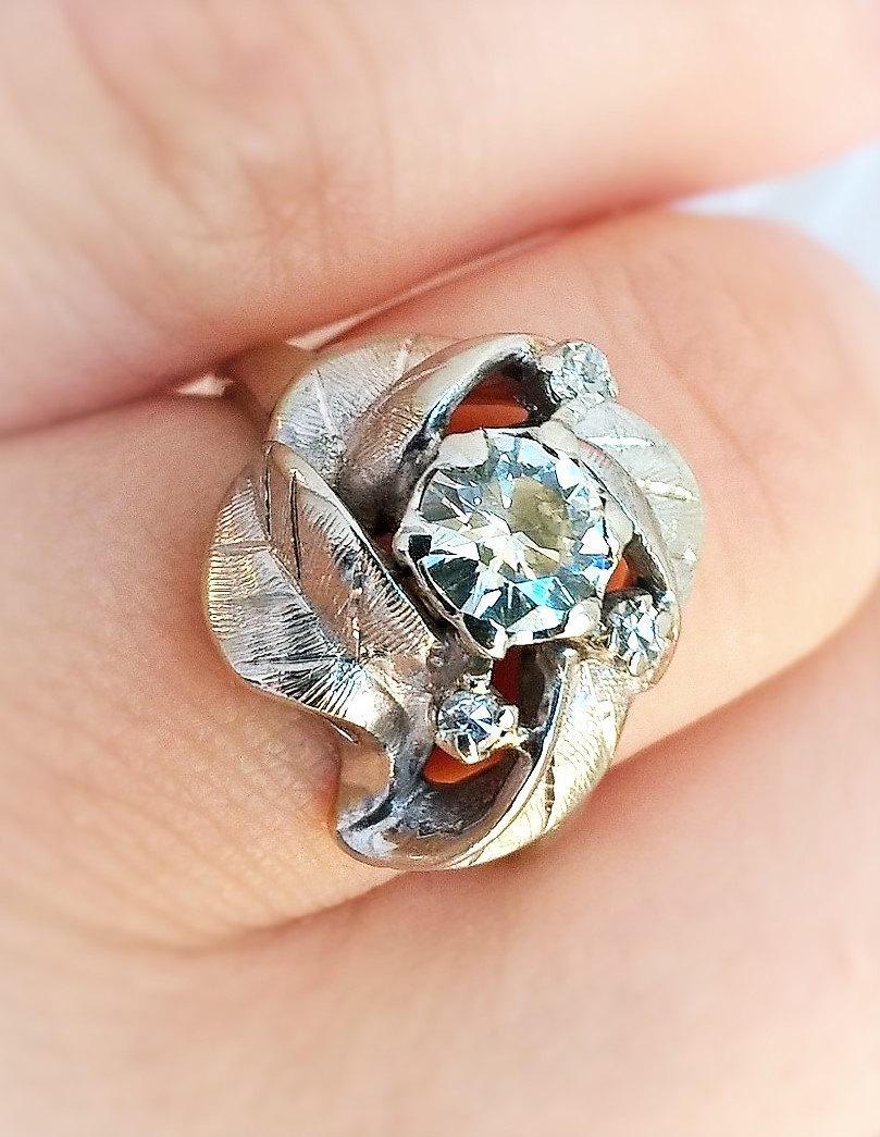 Свадьба - Transitional Diamond Harold Freeman Mid Century MCM Boho 1960s Rose Floral Engagement Right Hand Ring 14K WG .74 CT Vintage Estate Appraisal