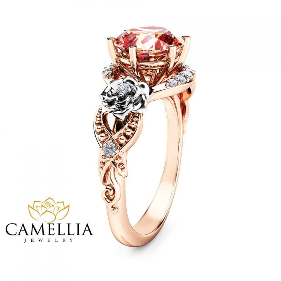 Mariage - 2ct Morganite Floral Engagement Ring 14K Two Tone Gold Engagement Ring Unique Morganite Ring