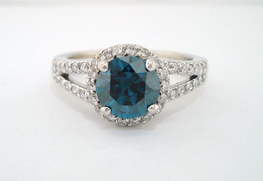 Свадьба - 1.82 Carat Fancy Blue Diamond Engagement  Ring 14K White Gold Certified Handmade