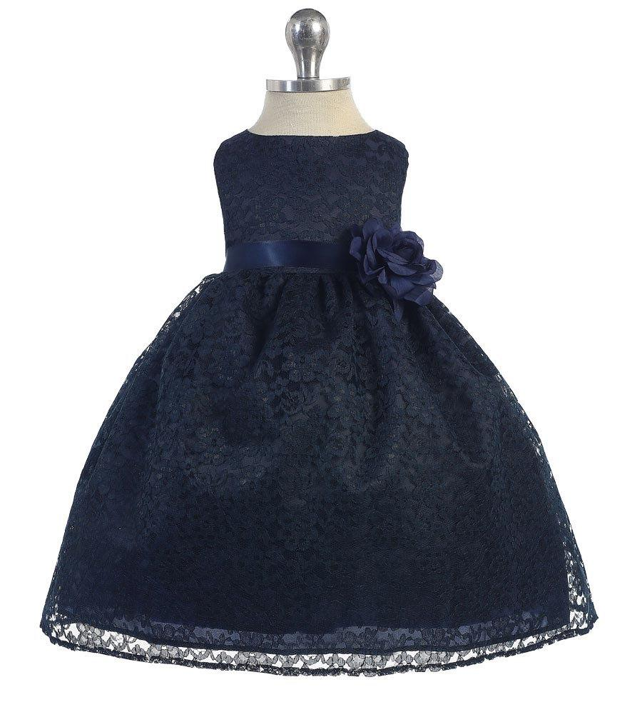 Wedding - Flower Girl Dress lace navy , Navy Blue party dress, Navy Blue pageant dress, Navy blue holiday dress, Junior bridesmaid dress