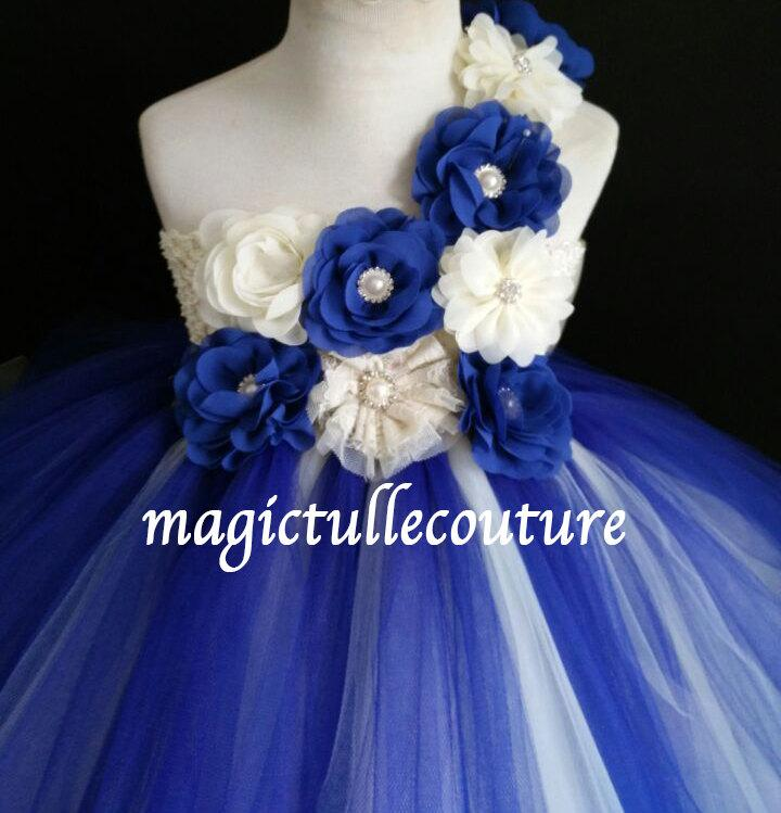 Ivory And Royal Blue Flower Girl Tutu Dress Wedding Dress Tulle ...