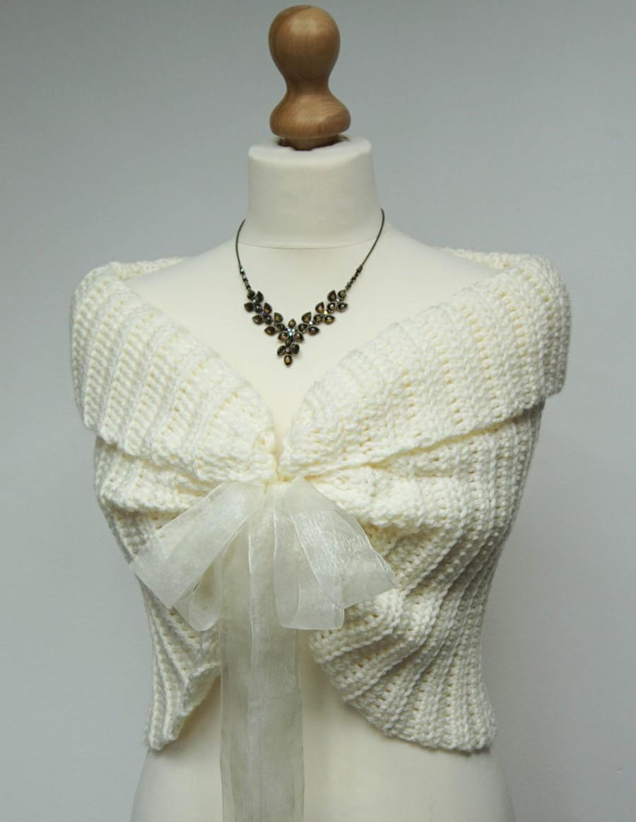 Lace Bridal Bolero, Ivory Wedding Shrug, Crochet Lace Bolero ...