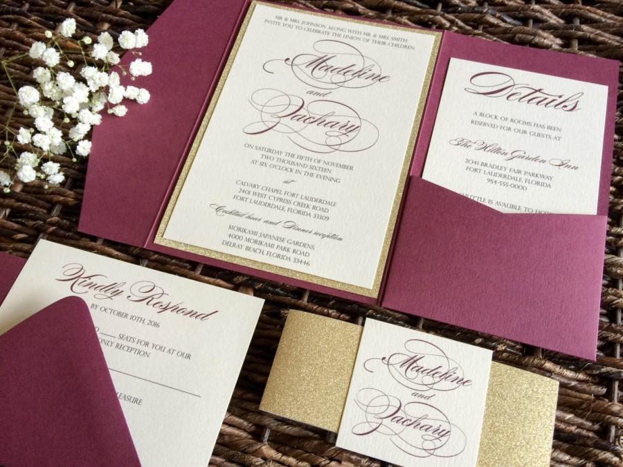 Mariage - Burgundy and Gold Glitter Wedding Invitation, Burgundy Pocket Wedding Invitation, Marsala Invitation, Wine Invitation